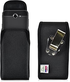 product image for Turtleback Belt Clip Case Made for Samsung Galaxy J7 2017 Prime, Perx, Halo with Slim case Black Vertical Holster Nylon Pouch with Heavy Duty Rotating Belt Clip Made in USA