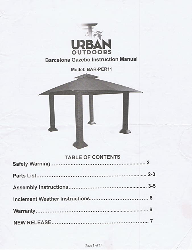 Amazoncom Garden Winds Replacement Canopy For The Barcelona Gazebo