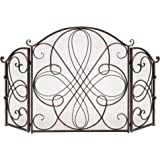 Best Choice Products 3-Panel 55x33in Solid Wrought Iron See-Through Metal Fireplace Screen, Spark Guard Safety Protector…