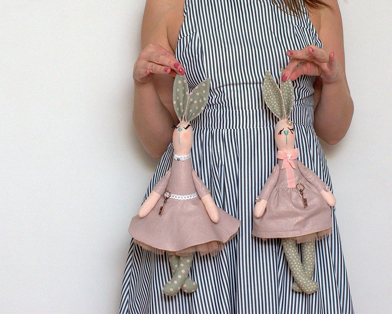 Nursery decor or favourite soft toy Halloween gift Rag bunny doll Rabbit fabric toy