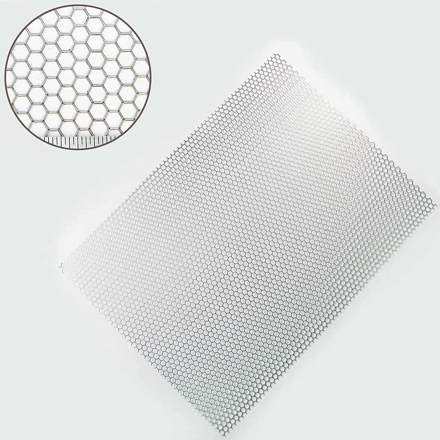 Hexagonal (6mm Hole x 1.5mm Thick) Steel Perforated Sheet - A3 Sheet (300 x 420mm) The Mesh Company