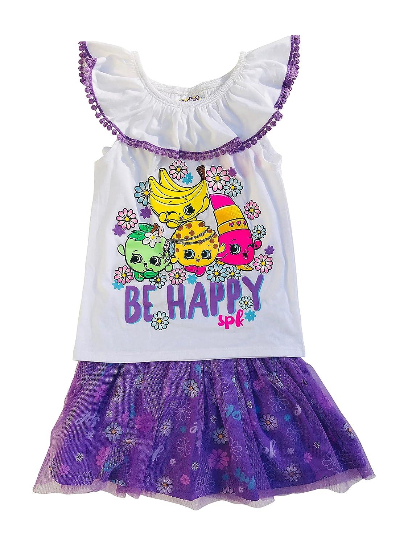 Shopkins Be Happy Ruffle Neck w//Crochet Trim Tulle Skirt Set Purple