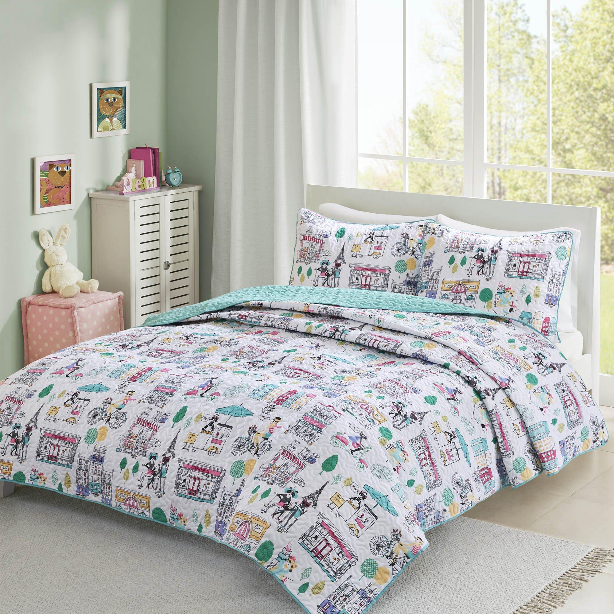 Comfort Spaces Girls/Boys Bedding Full/Queen Size - Paco, Cats, Eiffel Tower 3 Piece Cute Toddler/Kids Mini Quilt Set - Aqua - Hypoallergenic Microfiber - All Season