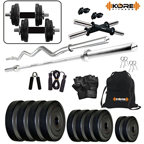 """Kore PVC Combo 2-SL (8 Kg - 20 Kg) Home Gym Kit with one 5 Ft Plain + One 3 Ft Curl + 2 x 14"""" Dumbbell Rods with Gym Accessories"""