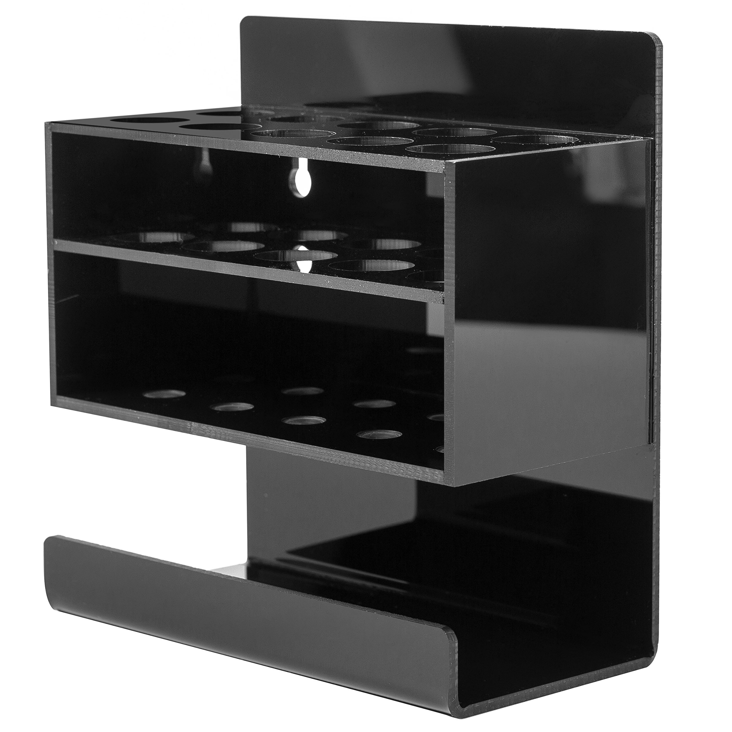MyGift Wall-Mounted 2-Tier Black Acrylic 10-Slot Dry Erase Whiteboard Marker and Eraser Holder Stand by MyGift (Image #3)