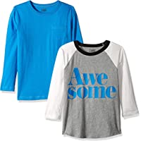 Marca Amazon / J. Crew - LOOK by crewcuts Camiseta de manga larga para niño, liso/estampado (2 unidades)