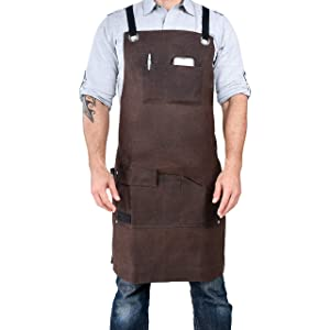 Armor Gear Durable Work Aprons for Men or Women 16oz Waxed Canvas Apron with 7 Pockets, Cross-Back Straps for Adjustable Sizes from S to XXL - Heavy Duty yet Comfortable with Style
