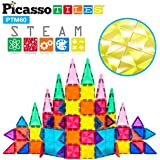 PicassoTiles 60 Piece Magnetic Building Block Mini Diamond Series Travel Size On-The-Go Magnet Construction Toy Set STEM Lear