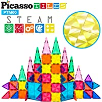 PicassoTiles 60 Piece Magnetic Building Block Mini Diamond Series Travel Size On-The-Go Magnet Construction Toy Set STEM…