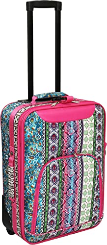 World Traveler 20 Inch Rolling Carry-On Luggage Suitcase, Bohemian, One Size