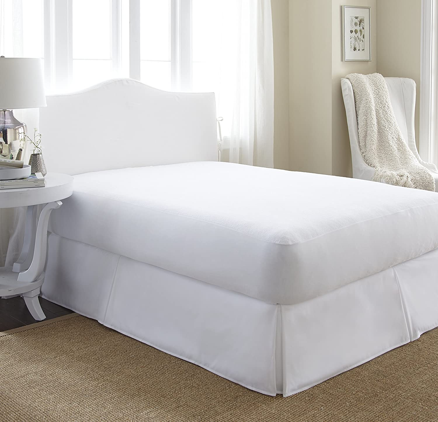 Home Collection IEH-MATTRESSPROT-Calking Silent Home Terry Waterproof Mattress Protector California King White ienjoy Home