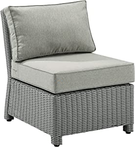 Crosley Furniture KO70017GY-GY Bradenton Outdoor Wicker Sectional Center Chair, Gray with Gray Cushions