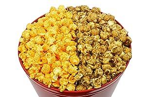 Signature Popcorn - 2-Gallon Solid Red Holiday Reusable Metal Tin - Half Caramel & Half Cheddar Cheese