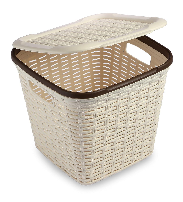 All Time Plastics Rattan Plastic Storage Box, 15 Litres, Cream: Amazon.in:  Home U0026 Kitchen