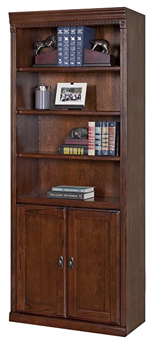 kathy ireland home by martin huntington oxford library bookcase with lower doors burnish finish - Library Furniture Home