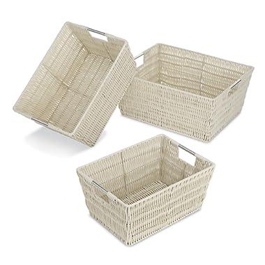 Whitmor Rattique Storage Baskets - Latte (3 Piece Set)
