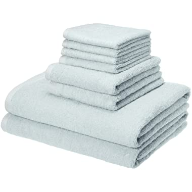 AmazonBasics Quick-Dry Towels - 100% Cotton, 8-Piece Set, Ice Blue