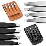 4 Tip Tweezer Set - SuchATweeze Premium Stainless Steel Precision Tweezers For Men & Women. Guaranteed Best Straight, Slant, & Ingrown Pluckers For Shaping Eyebrows (Black)