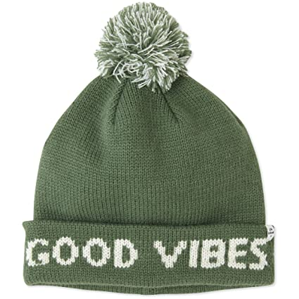 Buy Life is good Winter Pom Beanie Good Vibes Hat 90640666c22