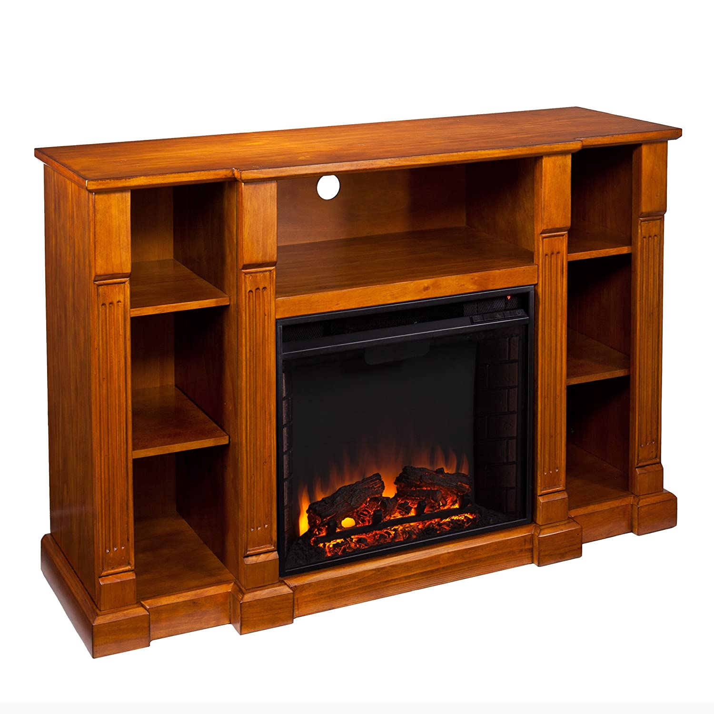 amazon com kendall electric media fireplace glazed pine home