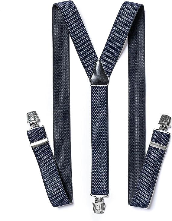 Damen Herren Hosenträger Hose Gürtel Schwarz 3 starke Clips Träger Y-Form breit