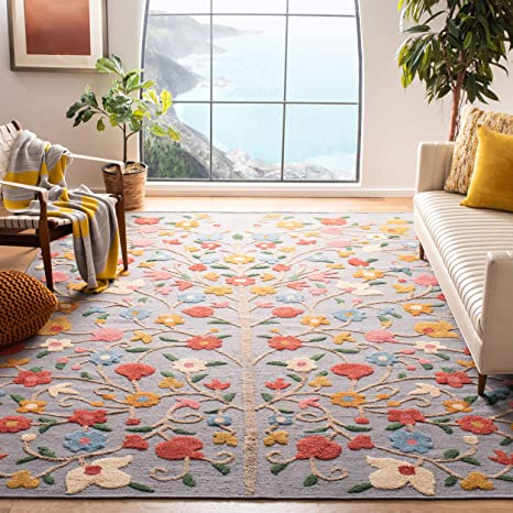 Amazon Com Safavieh Kenya Collection Kny640f Hand Knotted Floral Wool Area Rug 8 X 10 Grey Pink Furniture Decor
