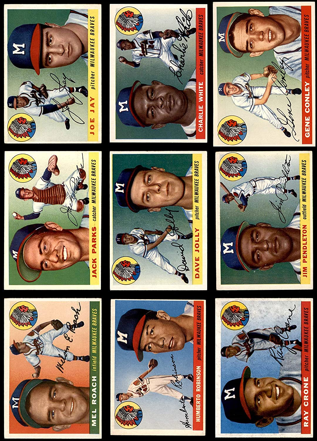 1955 Topps Milwaukee Braves Near Team Set Milwaukee Braves (Baseball Set) Dean's Cards 5 - EX Braves