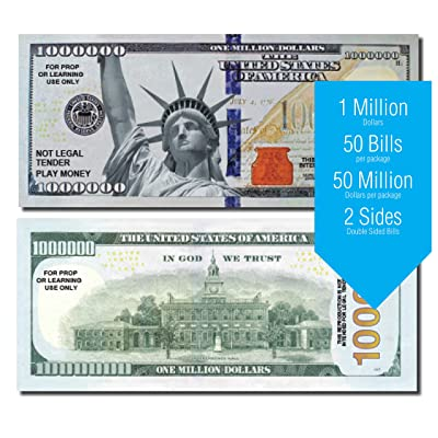 Million Dollar Play Money Bills, 25 Bills per Pack of Best Real Looking Size & Color, The #1 Selling for Schools, Props, and Fun (A: Million Dollar Bills): Toys & Games