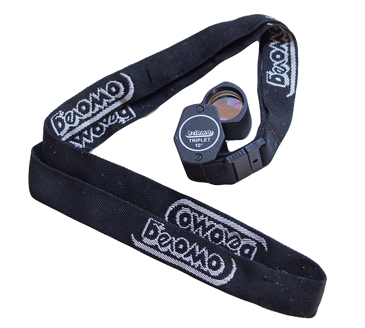 BelOMO 10x Triplet Loupe Magnifier with Attached Deluxe BelOMO Logo Lanyard, Optical Glass with Anti-Reflection Coating for a Bright, Clear and Color Correct View BelOMA LP-3-10x-B