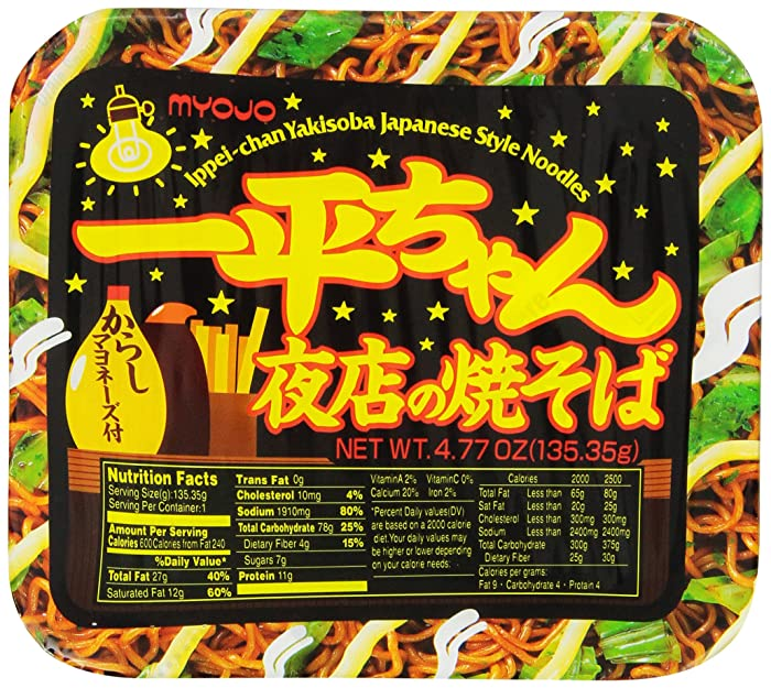 Myojo Ippeichan Yakisoba Japanese Style Instant Noodles, 4.77-Ounce Tubs (Pack of 12)