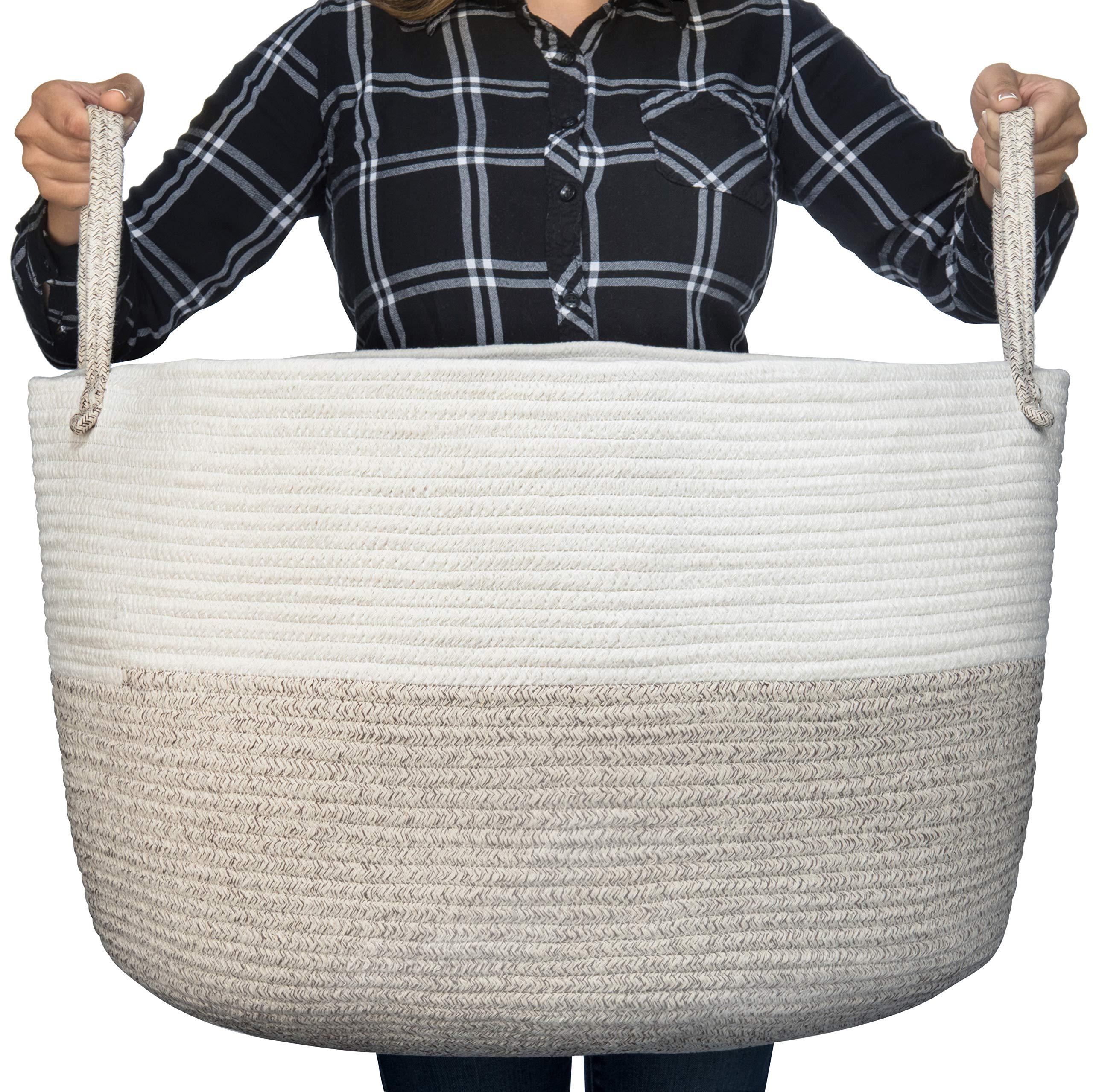 Luxury Little Nursery Storage Basket, Size XXXL :: 100% Cotton Rope Hamper with Handles :: Sturdy Baby Bin Organizer for Laundry, Toys, Blankets, Pillows & More, 22'' x 22'' x 14'', White/Beige