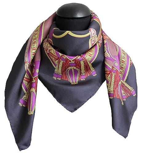 foulard seta 100% twill 12mm disegno 62167 grigio moro mis 90 x 90