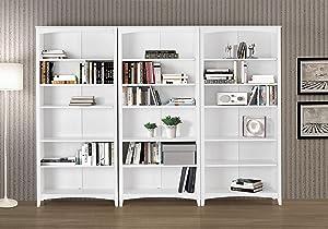 """Camaflexi Shaker Style Bookcase, 72"""", White"""