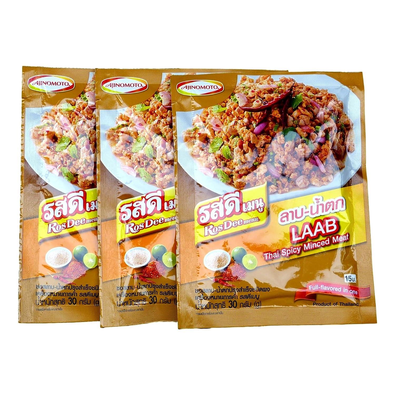 Ajinomoto RosDee Menu Laab Namtok Thai Isaan Seasoning Mix Pack of 3