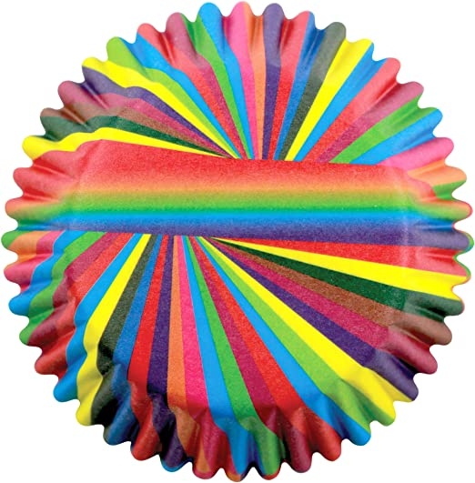 PME Rainbow Stripes Standard Baking Cases x 60 Cups