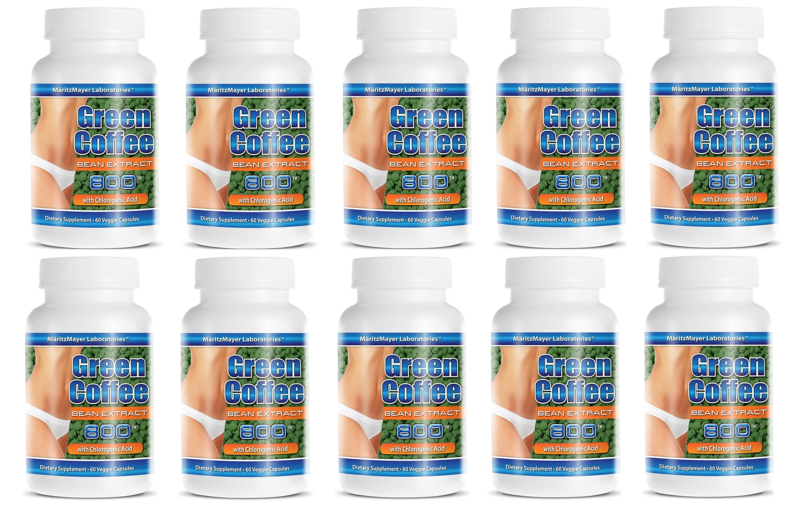 Pure Green Coffee Extract 800 mg Diet Weight Loss Pill 60 Capsules Per Bottle (10 Bottles)