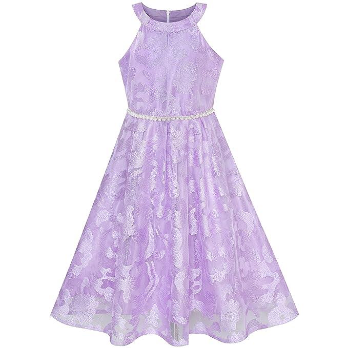 d8d53075e4 Sunny Fashion Vestido para niña Morado Encaje Perla Boda Dama de Honor  Vestido 6-12 años  Amazon.es  Ropa y accesorios
