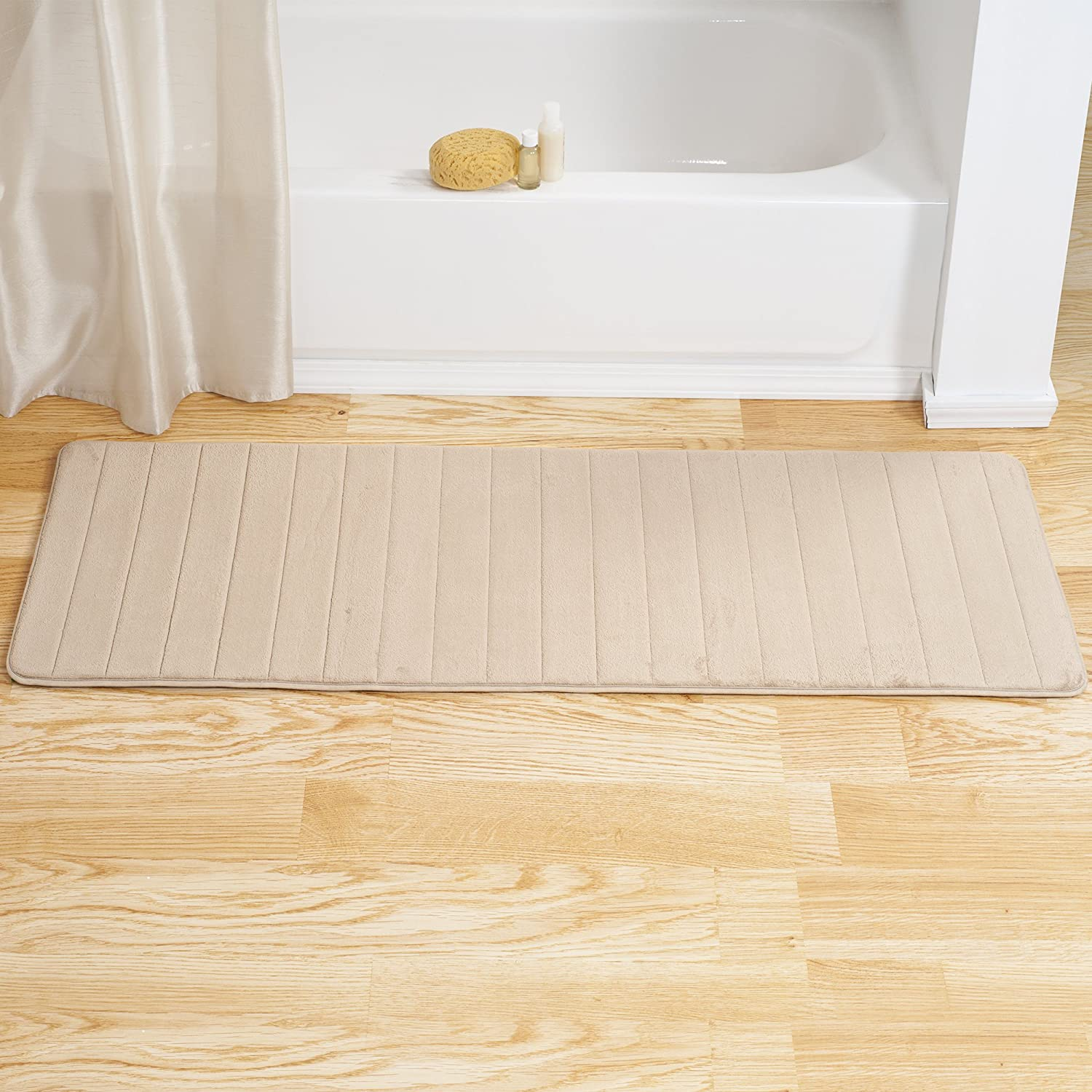 "Lavish Home Memory Foam Striped Extra Long Bath Mat, 24 by 60"", Ivory"