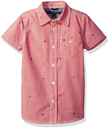 Tommy Hilfiger Boys' Short Sleeve Gingham Woven Shirt, Hibiscus Tea, X-Large/7