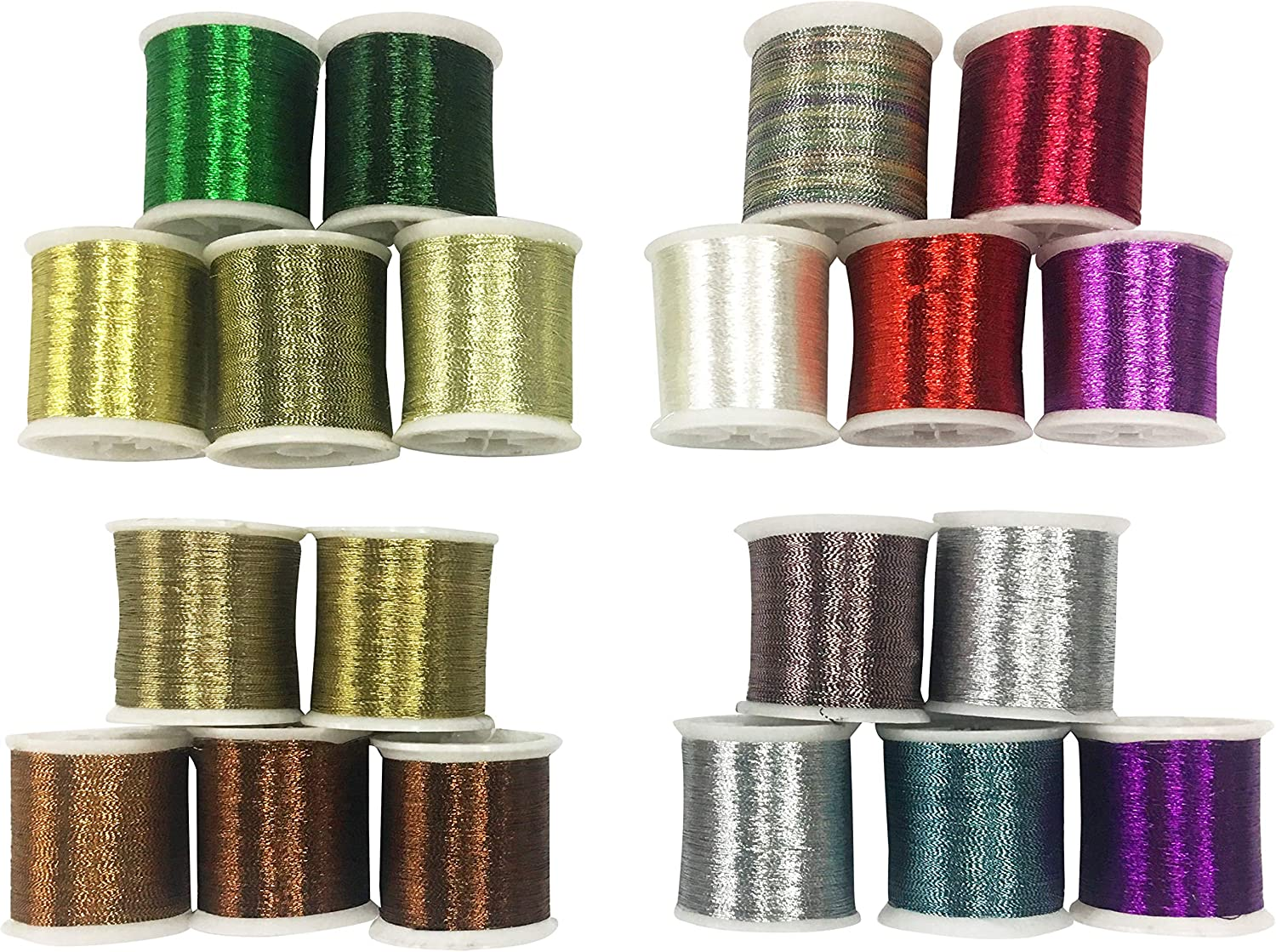 SELECTION PACK MIXED COLOURS METALLIC GLITTER CROCHET CRAFTS DECORATIVE THREAD