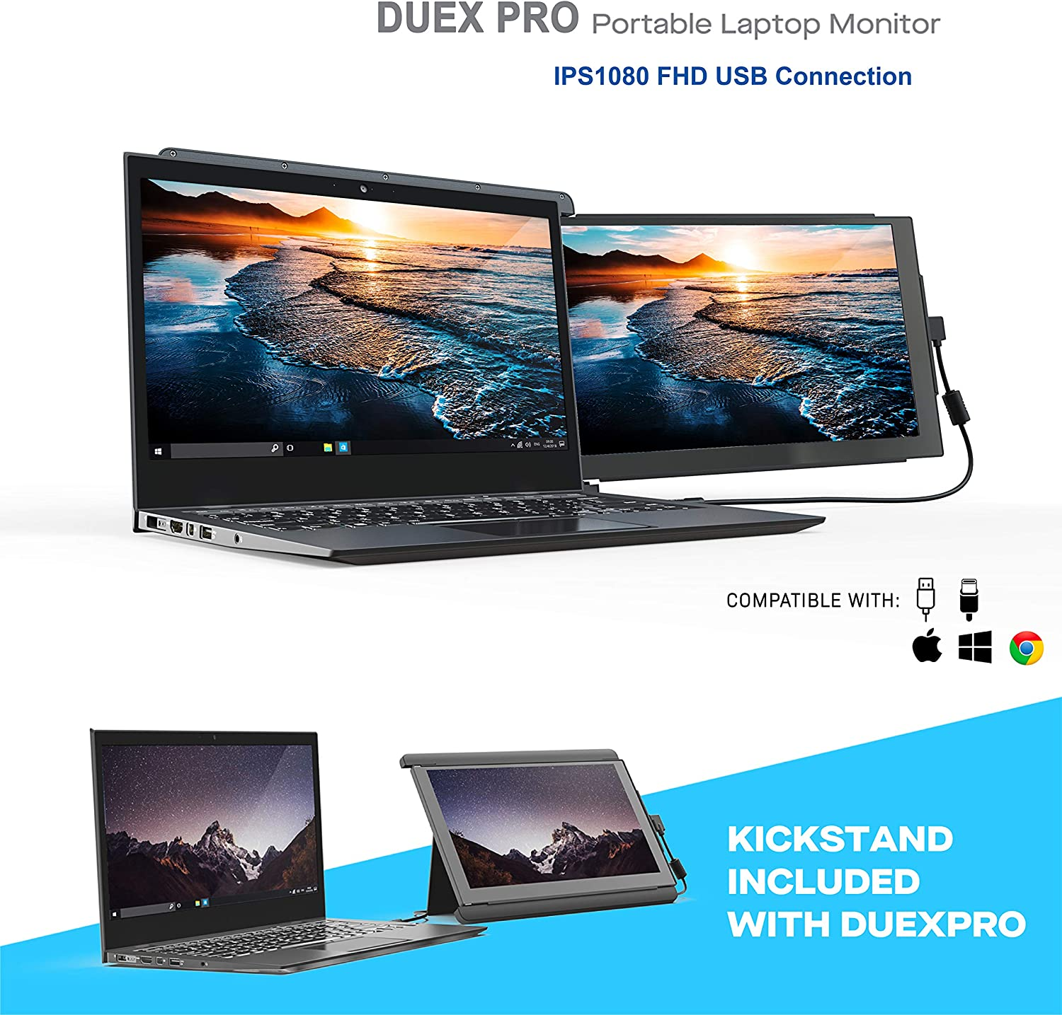 Portable Monitor -Duex Pro Upgraded 2.0 with Kickstand Combo, 12.5 Inch Full HD IPS Screen for laptops, USB C/Type -A Lightweight Dual Laptop Monitor, Brightness Adjustable Anti Glare Portable Screen