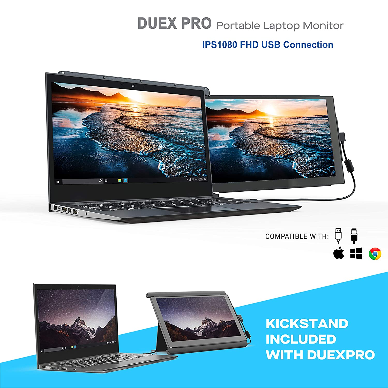 Portable Monitor -Duex Pro Upgraded 2.0 with Kickstand Combo, 12.5 Inch Full HD IPS Screen for laptops