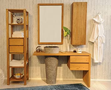 Badezimmermöbel teakholz  SAM® Badezimmer-Set Kubu Bangli aus Teak-Holz, mit Marmor ...