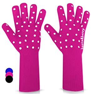 Beets & Berry Oven Gloves Heat Resistant Baking Gloves 1 Pair Oven Mitts Cut Resistant Cooking Gloves with Extra Long Sleeve & Silicone Non-Slip (Fuchsia Pink)
