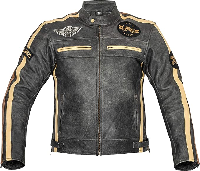 Xls Motorradjacke Herren Klassik Motorrad Lederjacke Retro Bikerjacke Vintage Grau M Auto