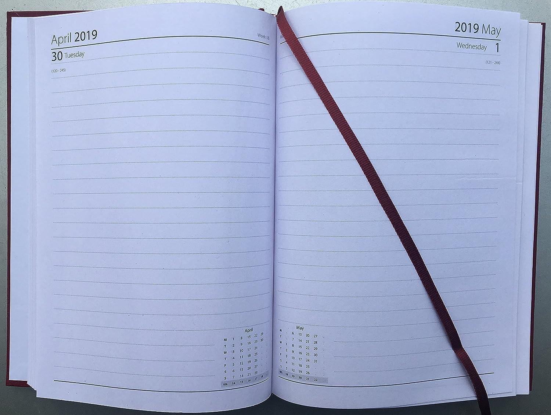 Agenda 2019, A5 día a página, tapa dura, agenda DAP con página completa de sábado y domingo, color 1 X Random A5