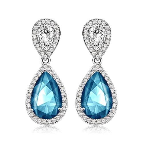 Crystal Dangle Earrings Made with SWAROVSKI Crystals, Sparkly Teardrop Chandelier Earrings, Exquisite Workmanship, Fashion Stylish Elegant Design, Wedding and Party Jewelry, Six Colors