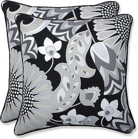 Amazon Com Pillow Perfect Outdoor Indoor Sophia Graphite Throw Pillows 18 5 X 18 5 Black 2 Count Home Kitchen