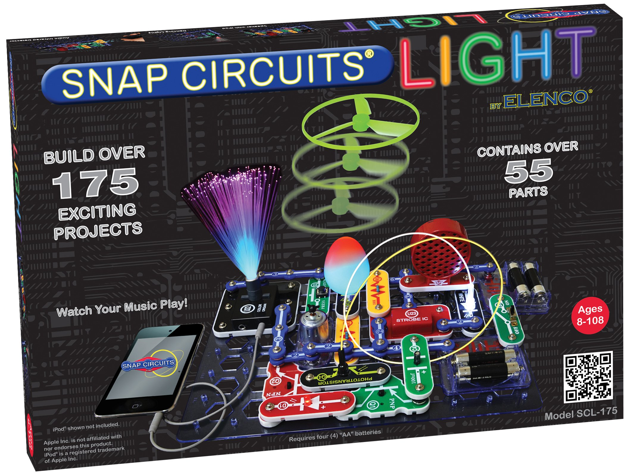 Snap Circuits LIGHT Electronics Exploration Kit | Over 175 Exciting STEM Projects | Full Color Project Manual | 55+ Snap Circuits Parts | STEM Educational Toys for Kids 8+ by Snap Circuits