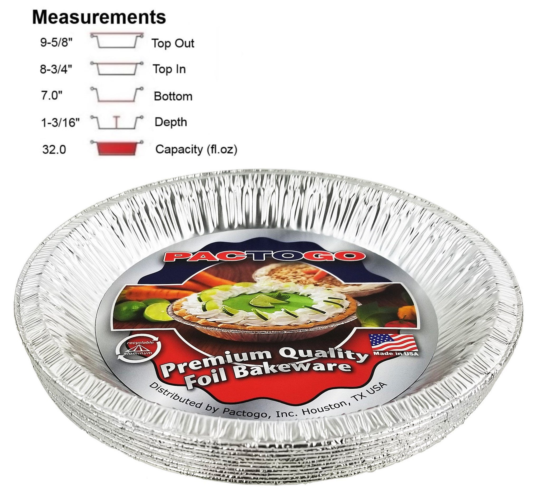 Pactogo 10'' (Actual Top-Out 9-5/8 Inches - Top-In 8-3/4 Inches) Aluminum Foil Pie Pan - Disposable Baking Tin Plates (Pack of 12)